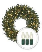Clear LED-Lit Christmas Wreaths
